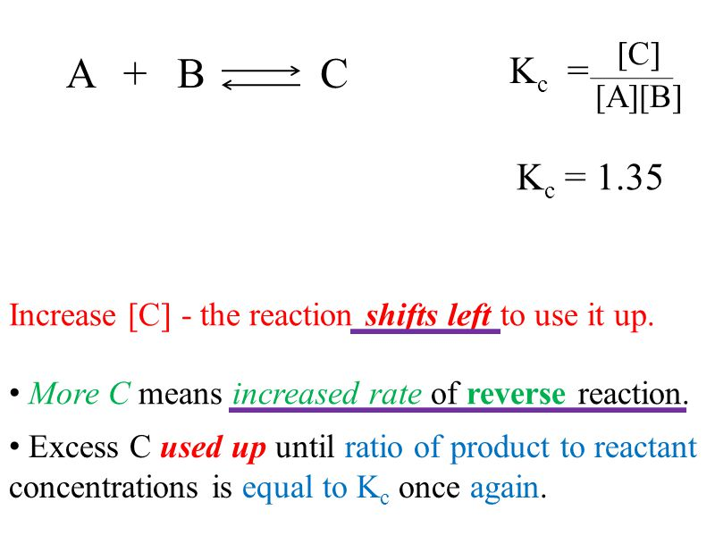 Kc = [C] [A][B] A. + B. C. Kc = 1.35. Increase [C] - the reaction shifts left to use it up.